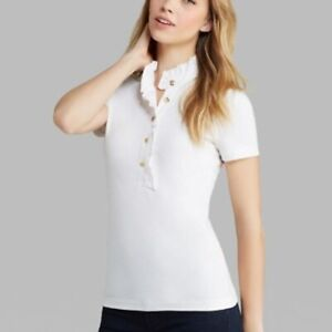 Tory Burch Womens Ruffled Lidia Polo Shirt Top White Size XL Short Sleeve Casual