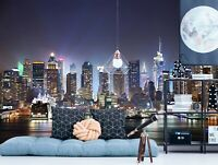 3D Study Night City R465 Wallpaper Wall Mural Self-adhesive Commerce Amy