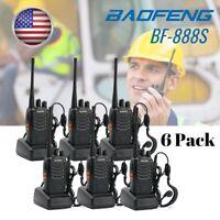 US 6x Baofeng BF-888S UHF Single-band 5W Two-way Radio Amateur HT Walkie Talkie