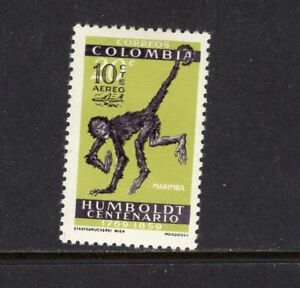 Colombia  1961 SPIDER MONKEY OVERPRINTED, BOGOTA AIR MAIL MLH SC C413