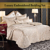 Quilted Bedspread Bed Throw Jacquard Bedding Set Double King & Super King Size