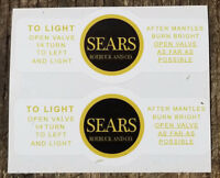 ONE (1) BRAND NEW COLEMAN EARLY SEARS LANTERN YELLOW BLK STICKERS LABELS DECALS