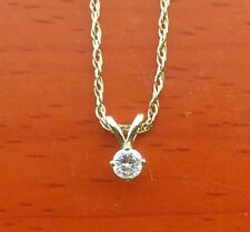 "14k Solid Gold Diamond Solitaire 15 points with 18"" thin Chain for Young Ladies"