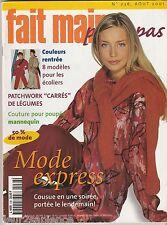 FAIT MAIN pas à pas N°236 Août 2001  couture 3 tenues poupée mannequin