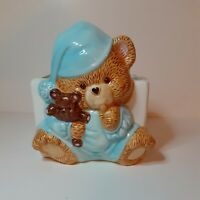 Napco Ceramic BABY BOY TEDDY BEAR  Planter