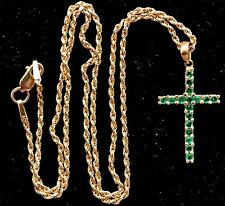 Exquisite Antique 14K Solid Gold & Natural Rich Green Emerald Cross Necklace