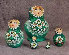 RUSSIAN MATROSHKA ~ GREEN ~ SET OF 5 NESTING DOLLS