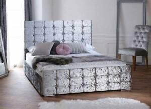 NEW CONTEMPORARY FLORENCE PLUSH VELVET UPHOLSTERED BED FRAME -VARIOUS COLOURS