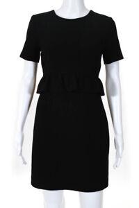 Club Monaco Womens Short Sleeve Peplum Dress Black Size 0