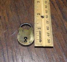 20111 Vintage Small Miniature Brass Railroad Lock / Padlock Unusual RR Pad  Lock