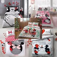 DISNEY MICKEY AND MINNIE MOUSE DOUBLE QUEEN SIZE BEDDING DUVET QUILT COVER SET