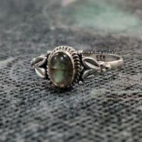 Labradorite Gemstone Ring Solid 925 Sterling Silver Band  Ring Size V930