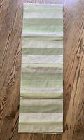 Crate & Barrel Runner 14 x 90 Olive Green Leaves Linen Silk Textured Patched