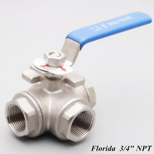 "3 way ball valve 3/4"" inch T Port NPT stainless steel 316 1000PSI Water oil Gas"