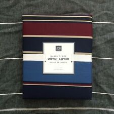 pottery barn teen Mason Srtipe twin duvet cover only navy blue red tan