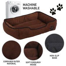 Hoppa Soft Rectangular Non Slip Dog Bed Machine Washable Small Corduroy Brown