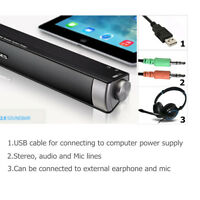 ELEGIANT USB TV Soundbar Subwoofer Stereo Speaker for Computer Desktop Laptop PC