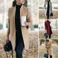 Women Winter Warm Wool Lapel Trench Parka Coat Jacket Slim Long Overcoat Fa S3A9