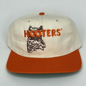Vintage Hooters Snapback Hat Tan & Orange Baseball Cap Made In USA