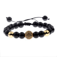 Luxury Men's Natural Stone Gold Zircon Micro Pave CZ Beaded Bracelets Jewelry