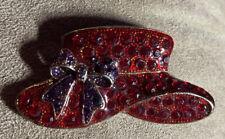 Pendant Rhinestones Gold Tone Pin Vintage Red Hat Purple Bow Brooch