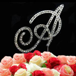 A-Z Diamante Diamond Rhinestone Alphabets Letter Cake Topper Function Decoration