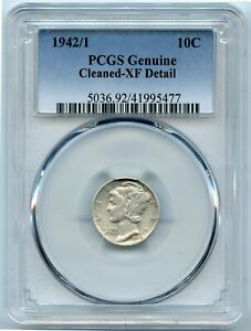 1942/1 PCGS Genuine-XF Detail Silver Mercury 10c