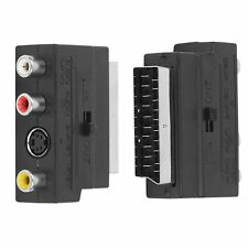 SCART Adaptor AV Block To 3 RCA Phono Composite S-Video With In/Out Switch