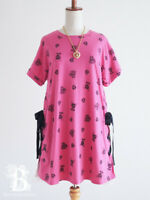 🌹Ank Rouge🌹Skull Rock A-Line Lace Up One Piece Dress Pink Lolita Japan E667