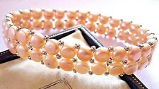 Vintage Jewellery Real PINK Fresh Water Baroque Pearl Natural Stretch BRACELET