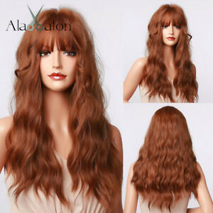 Long Natural Wavy Dark Brown Hair Wigs with Bangs For Women Cosplay Party Hair