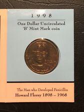 "1998 Howard Florey $1 coin UNC - ""B"" Mintmark"
