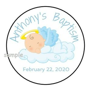 30 Personalized Baptism stickers labels favors tags blue boy round angel