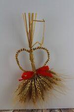 Vintage Wheat Weaving Art Heart Bundle Christmas Tree Ornament Hand Made
