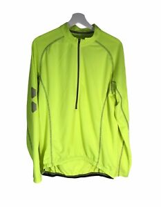 Men's Crane Long Sleeve Neon Yellow Cycling Shirt Jersey Size XL 46-48