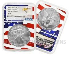2020 W $1 Burnished American Silver Eagle NGC MS70 Wavy Flag Core FDOR