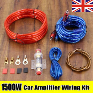 1500W 8AWG GAUGE Car AMP RCA Audio Amplifier Cable Subwoofer Wiring Kit UK