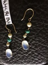 Antique 9Ct Moonstone ,Turquoise & Pearl Earrings
