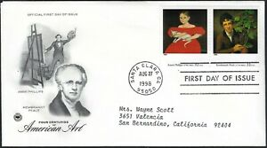 AMERICAN ART FDC - AMMI PHILLIPS & REMBRANDT PEALE COMBO PAIR - CACHETED!