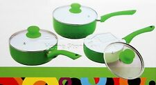 PRO 3pc Ceramic Cookware Set Saucepan Pot With Lids Frying Induction Pan Green