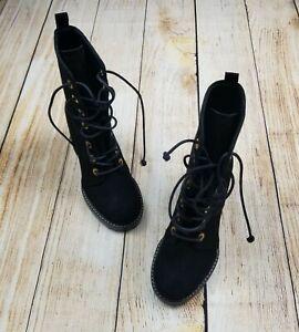 Stuart Weitzman Black suede Mid-Calf Combat Boots, Size 4 M