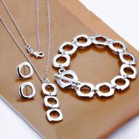 925Sterling Silver Square Cushion Women Necklace Bracelet Earrings Set YS162