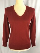 Talbots Pure Cashmere Women Sweater Small Petite Pullover Top V- Neck Burgundy