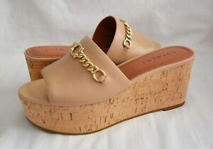 COACH FG3847 Wendie Leather Wedge Sandal Beechwood Size 8 NIB MSRP$228