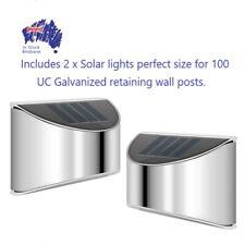 Concrete Sleeper Retaining Wall Post light Solar Powered x 2