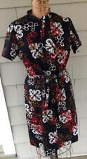 Vtg 60's MOD black red brown white graphic a line dress belt - m/l- b40