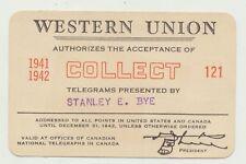 Western Union Telegram Credit Collect Authorization Card Capt Stanley Bye 1941