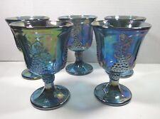 Indiana Glass Blue Carnival Harvest Grape 5 Goblets Iridescent