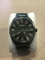 Seiko 7S26-04G0 Men's Automatic Silver Stainless Steel Black Dial Watch PREOWNED