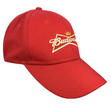 Red Budweiser Crown Logo Embroidered 100% Cotton Snapback Hat Cap